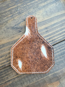 Ear Tag Cowhide Charm