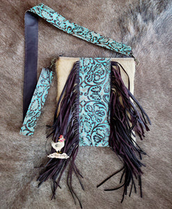 Light Hair on Hide Turquoise Tooled Crossbody