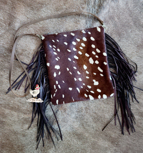 Axis Deer Hide Printed Crossbody