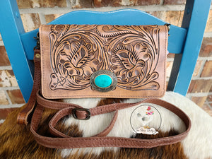 Tooled Leather Wallet Purse