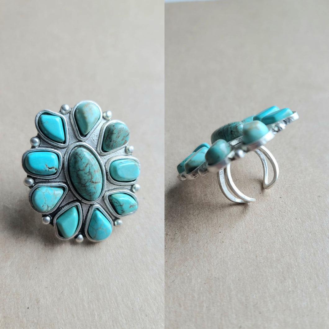 Oval Squash Blossom Turquoise Ring