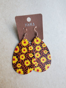 Sunflower/Leopard Teardrop Earrings