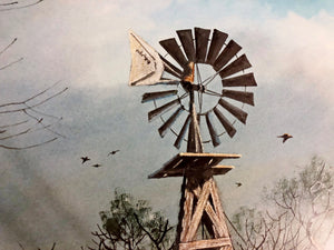 John Dearman - Windmill Shootout - Framed Lithograph - Size 25 x 31 - Artist Proof