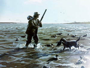John P. Cowan - Windy Morning - Duck Hunting 1996 - Framed Lithograph - Print Size 25.5 x 31 - Frame Size 34 x 39