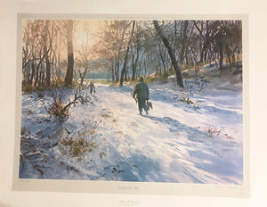 John P. Cowan - Jumping The Pits - Duck Hunting 1985 - Framed Lithograph - Size 25.5 x 31
