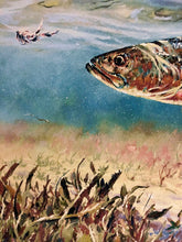 Load image into Gallery viewer, Chance Yarbrough - Pothole Predation - Framed GiClee - GiClee Size 15 x 22 - Frame Size 22 x 28 - Speckled Trout - With Deckled Edges