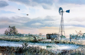Chance Yarbrough - Windmill Wingshoot - Framed GiClee - GiClee Size 15 x 22 - Frame Size - 25 x 32 - Dove Hunting