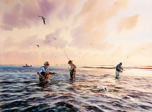 Chance Yarbrough - What A Day Artist Proof - Framed GiClee - GiClee Size 22 x 30 - Frame Size 32 x 40 - Speck Fishing Scene