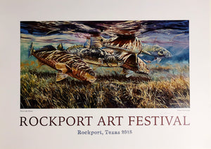 Chance Yarbrough - Fence Lake Frenzy Rockport Poster 2015 - Un-Framed Poster Print Size 20 x 28 - Redfish