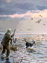 Load image into Gallery viewer, John P. Cowan - Coming Home Gold Medallion Edition 1985 - Framed Lithograph - Print Size 25 x 31 - Frame Size 35 x 39 - Duck Hunting Scene