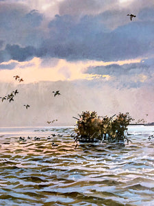 John P. Cowan - Coming Home Gold Medallion Edition 1985 - Framed Lithograph - Print Size 25 x 31 - Frame Size 35 x 39 - Duck Hunting Scene