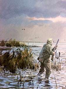 John P. Cowan - Coming Home Medallion Edition - Framed Lithograph - Print Size 25 x 31 - Frame Size 35 x 39 - Duck Hunting Scene