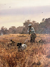 Load image into Gallery viewer, John P. Cowan - In The Open - Quail Hunting 1990 - Framed Lithograph - Size 25.5 x 31