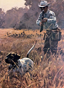John P. Cowan - In The Open - Quail Hunting 1990 - Framed Lithograph - Size 25.5 x 31