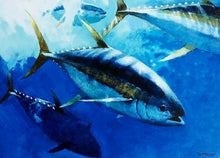 Load image into Gallery viewer, Al Barnes - 2012 Texas Saltwater Stamp Print and Stamp - Framed Stamp Print - Print Size 12.5 x 14 - Framed Size 17 x 18.5 - Yellowfin Tuna
