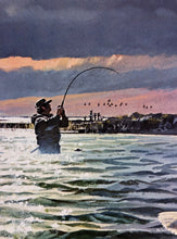Load image into Gallery viewer, John P. Cowan - Sundown School - Framed Lithograph - Frame 30.5 x 37 - Printed 1989 - Wade Fishing Specks