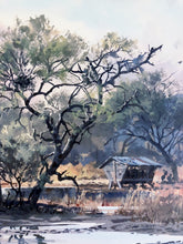 Load image into Gallery viewer, John P. Cowan The Waterhole - Dove Hunting Scene 1998 - Framed Lithograph - Print Size 25.5 x 31 - Frame Size 32 x 39 - Dove Hunting