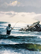 Load image into Gallery viewer, John P. Cowan - Maybe A Keeper - Framed Lithograph - Print Size 25.5 x 31.5 - Frame Size 32.5 x 38 - Surf Fishing Reds