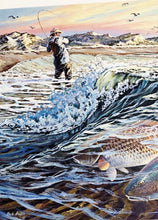 Load image into Gallery viewer, Herb Booth - 1988 Texas Saltwater Stamp Print and Double Stamps - Framed Stamp Print - Surf Fishing Reds - Print Size 12.5 x 14 - Frame Size 17 x 18.5