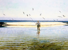 Load image into Gallery viewer, Al Barnes - Exit - Framed Lithograph - Print Size 25 x 31 - Frame Size 34 x 39 - Coastal Wade Fishing