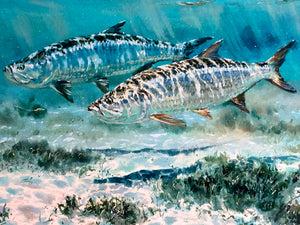 Chance Yarbrough - Pair at Eleven - Framed GiClee - GiClee Size 15 x 22 - Framed Size 25 x 32 - Tarpon Fishing