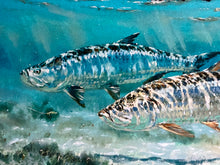 Load image into Gallery viewer, Chance Yarbrough - Pair at Eleven - Framed GiClee - GiClee Size 15 x 22 - Framed Size 25 x 32 - Tarpon Fishing