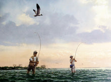 Load image into Gallery viewer, John Dearman - Done Deal - Framed Lithograph - Print Size 25 x 31 - Frame Size 31 x 38 - Speckled Trout Fishing