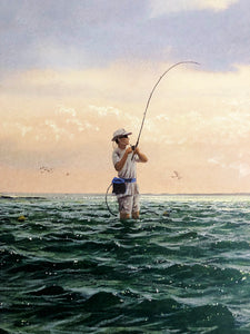 John Dearman - Done Deal - Framed Lithograph - Print Size 25 x 31 - Frame Size 31 x 38 - Speckled Trout Fishing