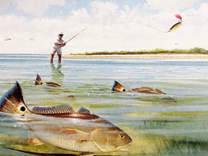 John Dearman - 2007 CCA Stamp Print and Double Stamps - RedFish - Framed Stamp Print -Image 12.5 x 14 - Frame 17 x 18.5 - Redfishing