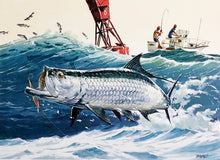 Load image into Gallery viewer, Al Barnes - 1985 GCCA  Gulf Coast Conservation Association Stamp Print and Stamp Number 2722 of 2900 - Framed Stamp Print - Tarpon Fishing - Print Size 12.5 x 14 - Frame Size 18 x 18.5 - Mint Condition - Brand New Custom Sporting Frame