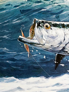 Al Barnes - 1985 GCCA  Gulf Coast Conservation Association Stamp Print and Stamp Number 2722 of 2900 - Framed Stamp Print - Tarpon Fishing - Print Size 12.5 x 14 - Frame Size 18 x 18.5 - Mint Condition - Brand New Custom Sporting Frame