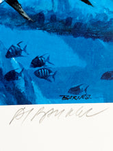 Load image into Gallery viewer, Al Barnes - 1993 Texas Saltwater Stamp Print and Stamp - Framed Stamp Print - Print Size 12.5 x 14 - Frame Size 18 x 18.5 - Bluewater King Mackerel