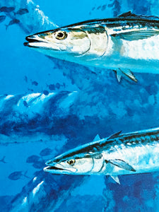 Al Barnes - 1993 Texas Saltwater Stamp Print and Stamp - Framed Stamp Print - Print Size 12.5 x 14 - Frame Size 18 x 18.5 - Bluewater King Mackerel