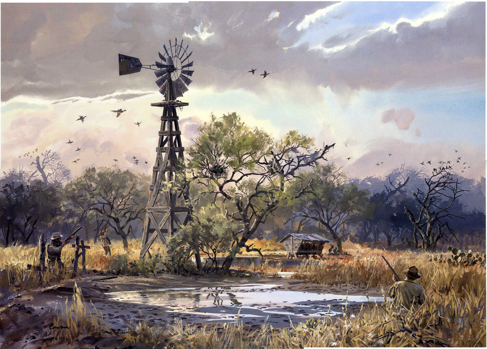 John P. Cowan The Waterhole - Dove Hunting Scene 1998 - Framed Lithograph - Print Size 25.5 x 31 - Frame Size 32 x 39 - Dove Hunting