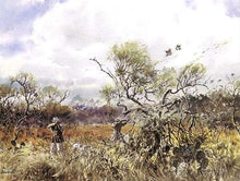 Load image into Gallery viewer, John P. Cowan - Trimming The Brush - Quail Hunting 1997 - Framed Lithograph - Size 25.5 x 31