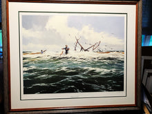 Load image into Gallery viewer, Al Barnes - Between The Bars - Framed Lithograph - Print Size 25 x 31 - Frame Size 30 x 36 - Texas Surf Fishing Scene
