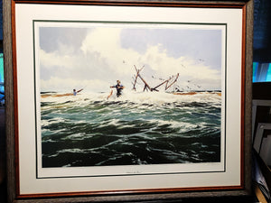 Al Barnes - Between The Bars - Framed Lithograph - Print Size 25 x 31 - Frame Size 30 x 36 - Texas Surf Fishing Scene