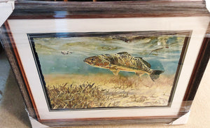 Chance Yarbrough - Pothole Predation - Framed GiClee - GiClee Size 15 x 22 - Frame Size 22 x 28 - Speckled Trout - With Deckled Edges