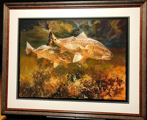 Chance Yarbrough - On The Prowl - Framed GiClee - GiClee Size 22 x 30 - Frame Size 31 x 37 - Redfish