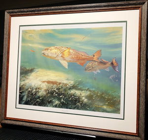 Chance Yarbrough - Party of Two - Framed Lithograph - Print Size 25.5 x 31 - Frame Size 32.5 x 38 - Redfish