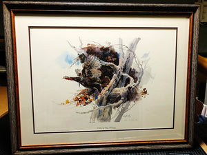 Clay McGaughy - To Work - Framed Lithograph - Print Size 18.5 x 22.5 - Framed Size 27 x 31 - Mint Condition - Wild Turkey
