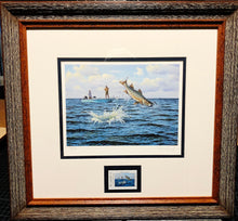 Load image into Gallery viewer, David Drinkard - 2007 Texas Saltwater Stamp Print and Stamp - Framed Stamp Print - Snook - Published by The Texas Parks and Wildlife Department TPWD - Print Size 12.5 x 14 - Frame Size 17 x 18.5 - Mint Condition with Brand New Custom Sporting Frame