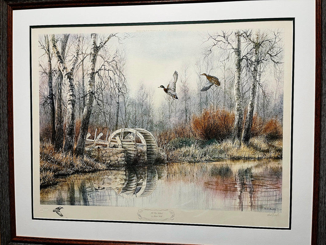 Herb Booth - Mill Pond Mallards Artist Proof w Remarque - Framed Lithograph - Frame Dimensions 32H x 38L - Mint Condition
