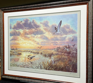 Herb Booth - Working The Shallows - Framed Lithograph - Frame Dimensions 32H x 37L - Mint Condition w Brand New Custom Sporting Frame - Very Rare