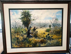 John P. Cowan - Coming to Horns - Framed GiClee - GiClee Size 22 x 30 - Frame Size 31 x 39 - Whitetail Rattling 1990