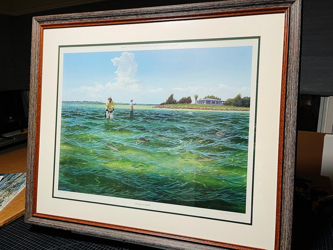 John Dearman - Backyard Stalk - Framed Lithograph - Size 25.5 x 31.5 - Frame Size 32.5 x 38 - Wade Fishing Specks