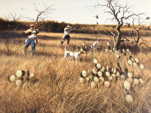 John Dearman - Deadwood Covey w Quail Remarque Number 1 of 800 Year 1999 - Framed Lithograph - Size 25 x 31 - Mint Condition