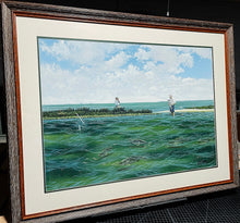 Load image into Gallery viewer, John Dearman - Pringle - Framed Original - Image Size 22 x 30 - Frame Size 30 x 40 - Wade Fishing Scene