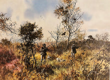 Load image into Gallery viewer, John P. Cowan - Creek Bottom - Quail Hunting Scene 1978 - Framed Lithograph - Size 25.5 x 31 - Frame Size 31.5 x 38