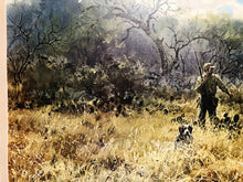 Load image into Gallery viewer, John P. Cowan - Two Down - Quail Hunting Scene 1974 - Framed Lithograph - Size 25.5 x 31 - Frame Size 31.5 x 38
